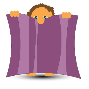 cartoon figure mostly hiding behind a towel