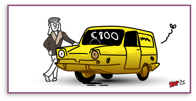 cartoon of a 'Trotters' reliant van and dodgy saleswoman