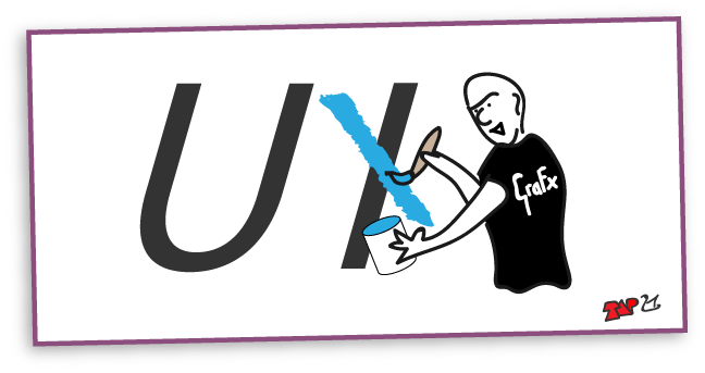 cartoon of a graphics guy painting over the 'I' in UI to make it look like UX