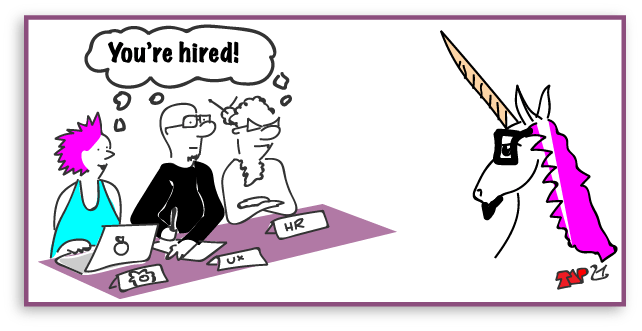 cartoon of a ux designer wearing a unicorn suit being hired by a cliche interview board