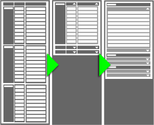 wireframing from long table to expanding cells